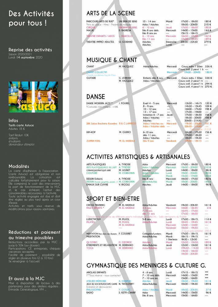 Activités 2020-2021